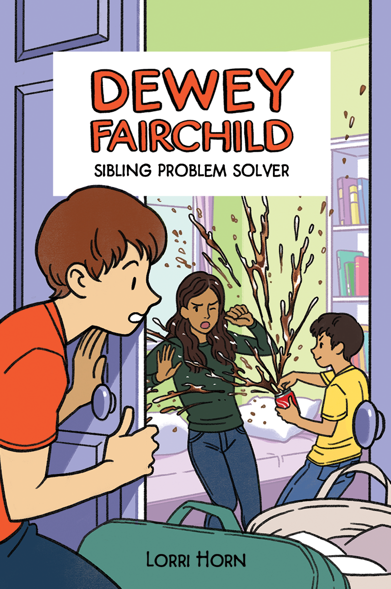 Dewye Fairchild: Sibling Problem Solver , boy standing outside of door watching, another boy spraying pop on sister in her bedroom