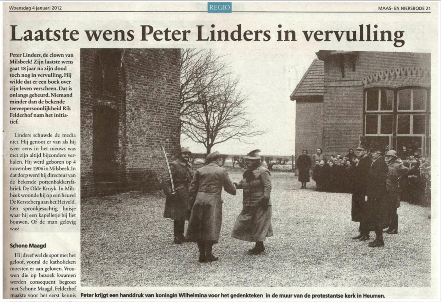 Peter Linders krantenartikel pag 1