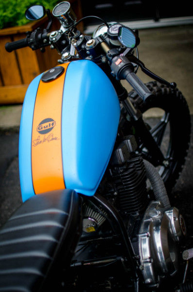 Gulf Themed Motorcycle fuel Tanks by Sketchs Ink Ottawa Ontario