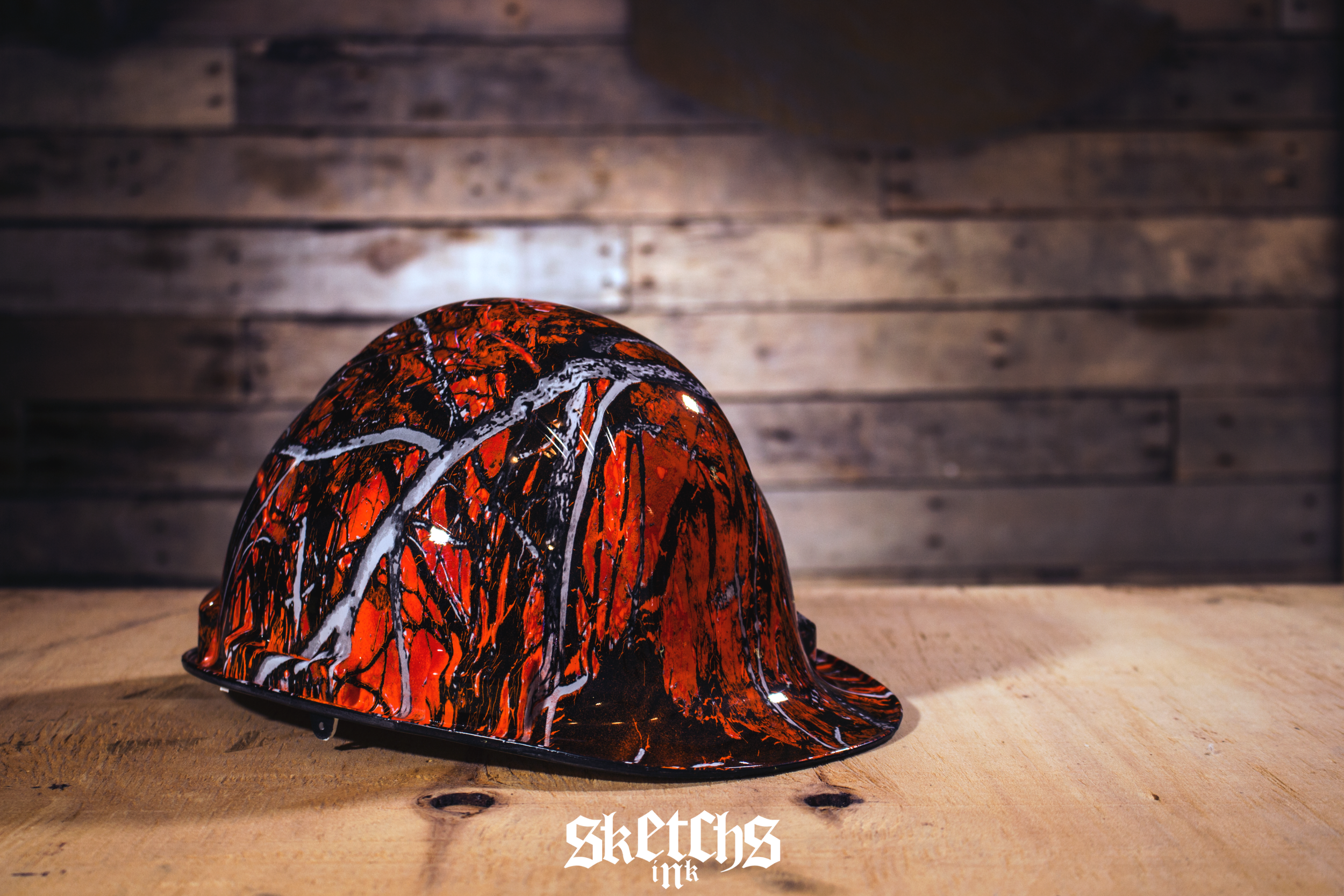 Custom Hard Hat Hydrographics by Sketchs Ink Ottawa Canada