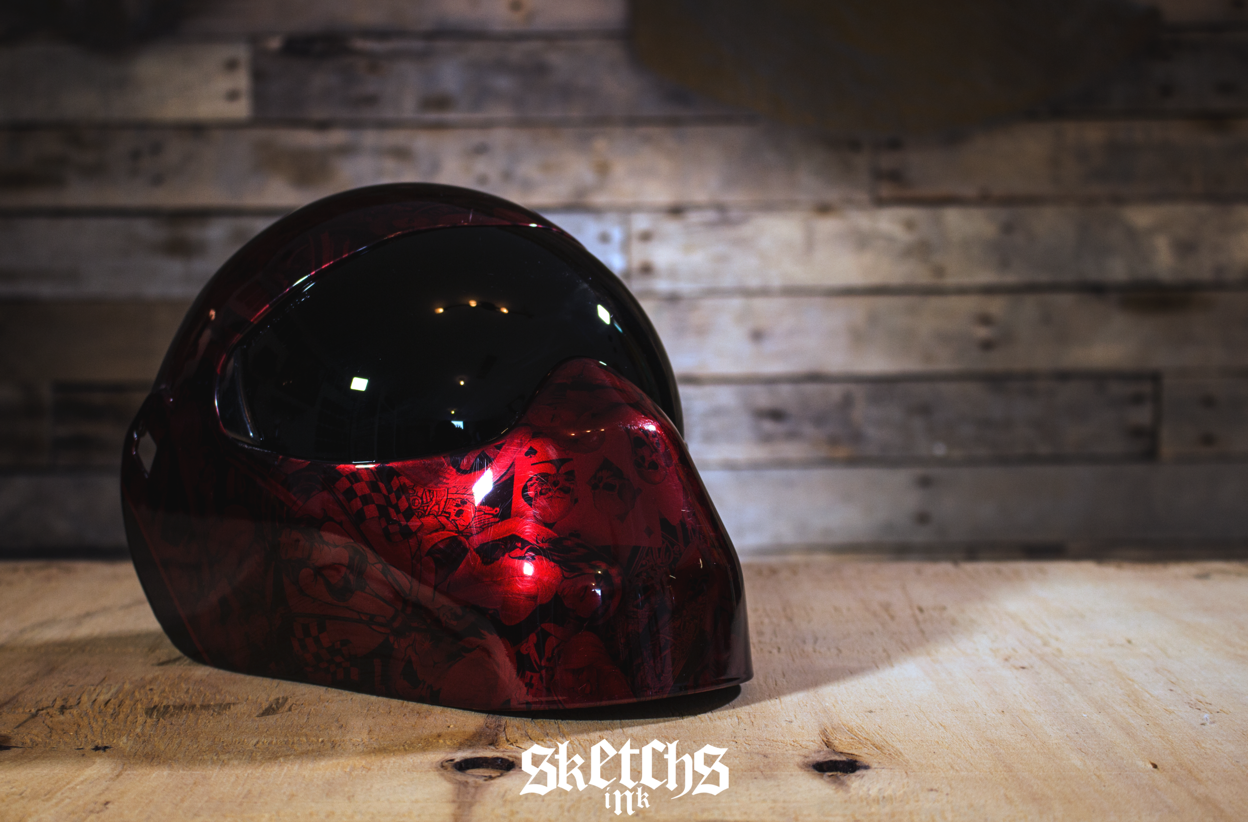 Tinted Red Welding Mask Hydrographics