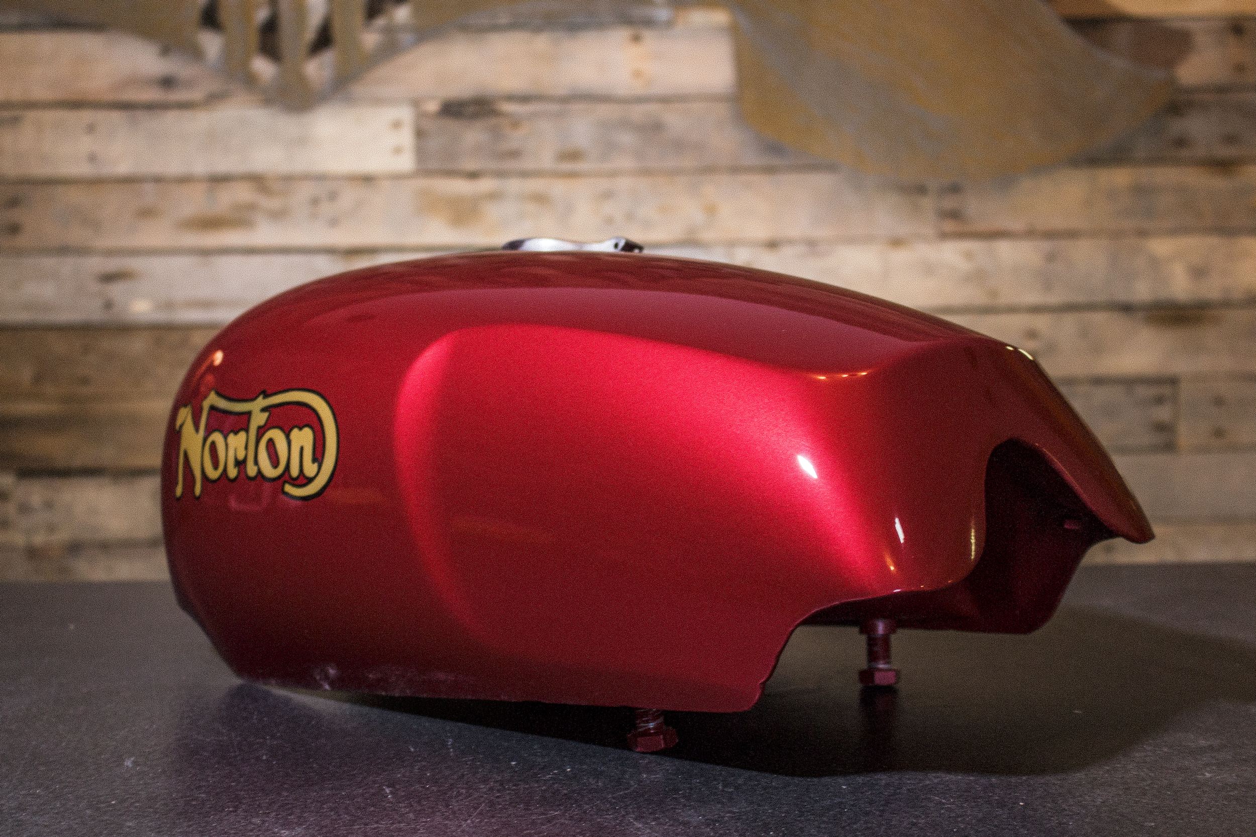 hand-painted Reproduction Norton Fuel Tank by Sketchs Ink Ottawa Canada