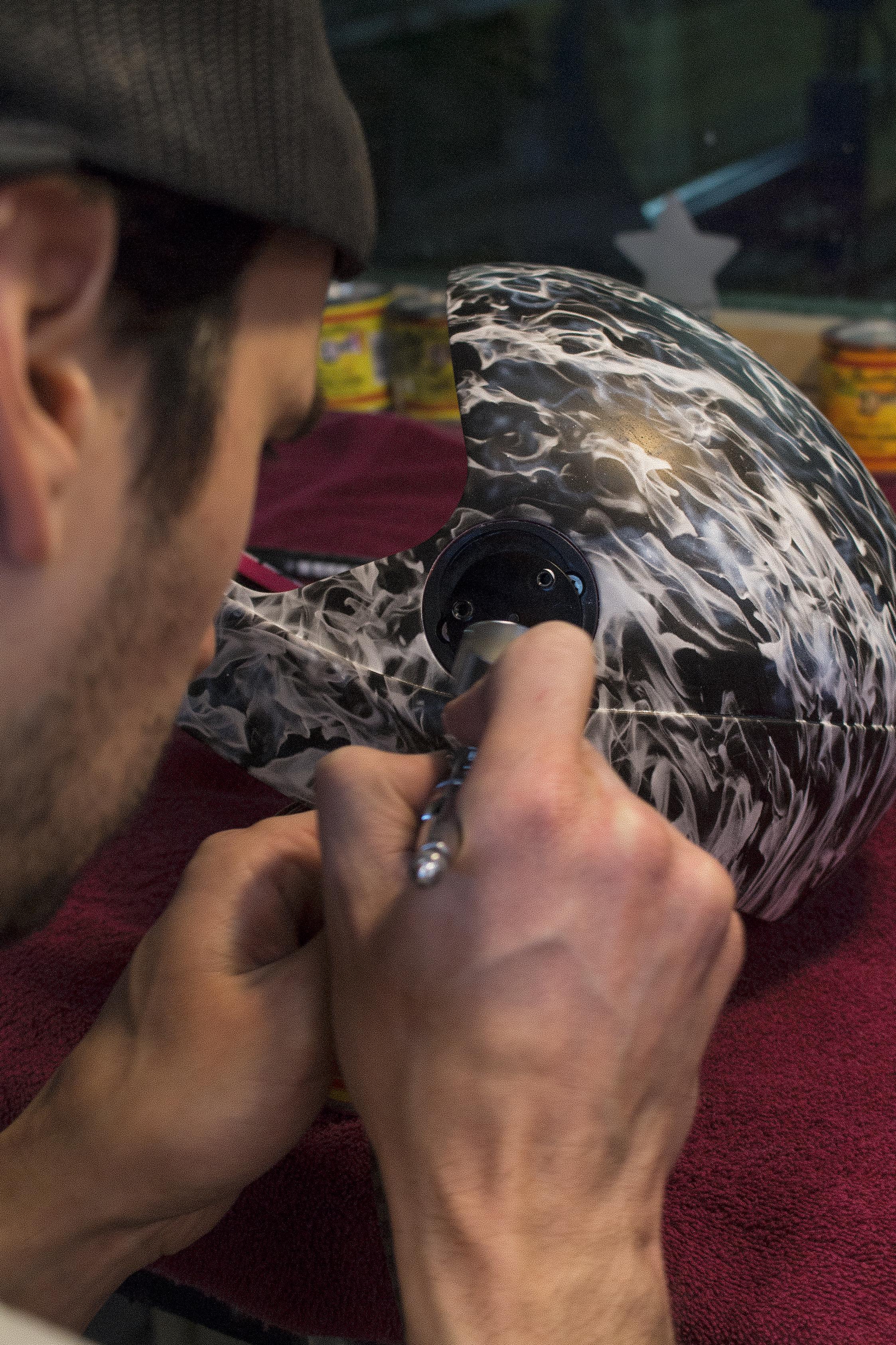Cookie G3 Skydive Helmets get Hydrographics by Sketchs Ink Custom Paint Ottawa Ontario