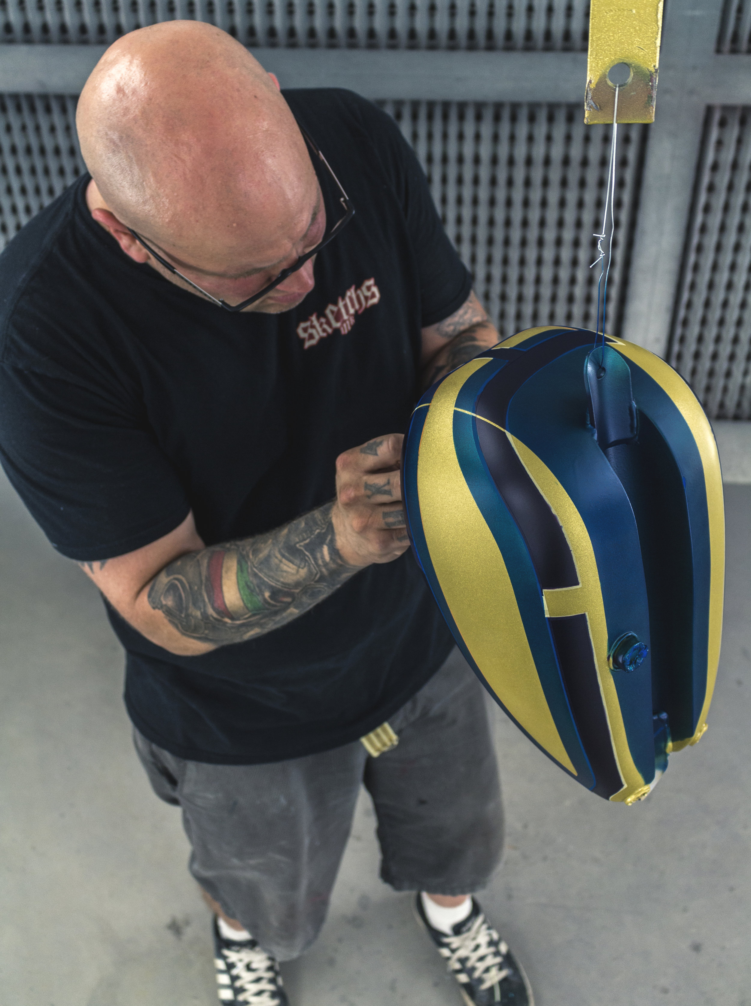 Pinstriped Scaled, Flake custom gas tank peanut tc bros for freedom machine done by Sketchs Ink Ottawa