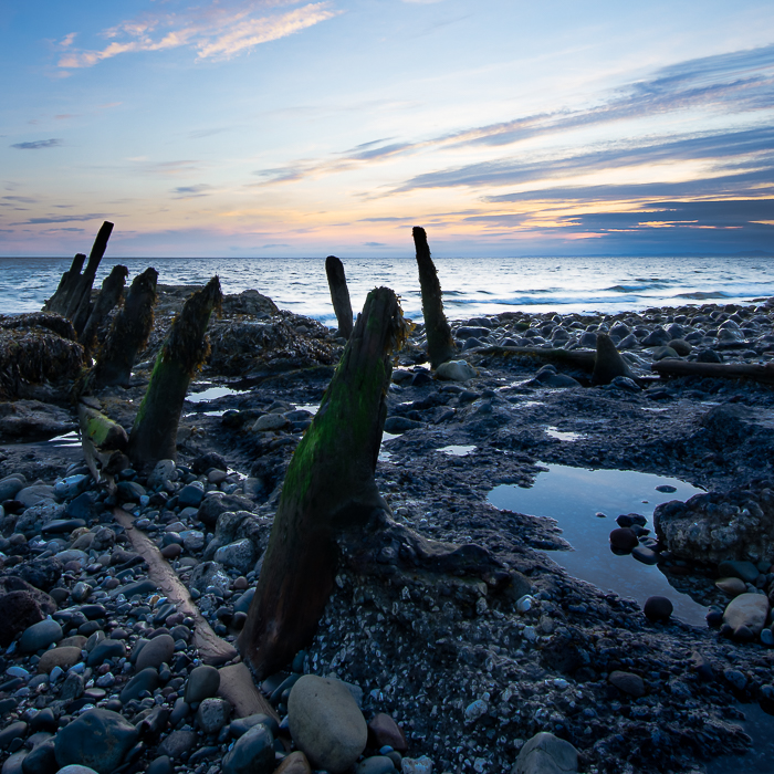 Working beach in Cumbria, just after sunset