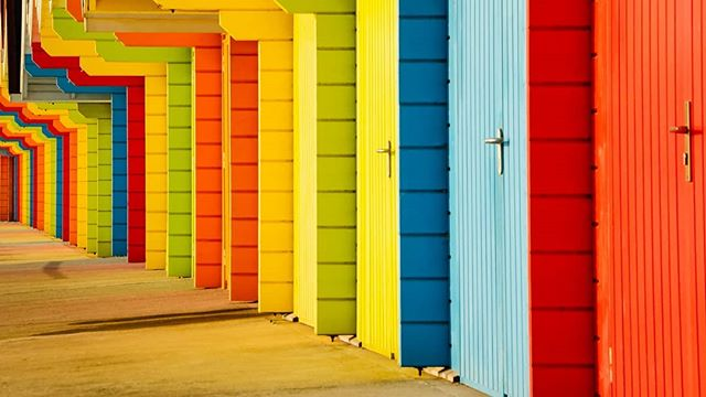 Something a little different today - beach huts on the sea front at Scarborough.  I've always loved the colours and patterns of these beach huts, but on the morning I took this photo, the low sun was shining directly onto the front of them, casting really beautiful reflected colours onto the pavement. . . . . . . . . . #beach #seaside #outdoor  #morninglight #morningwalk #spring #sunrise #scarborough #colour #colourful #beachhuts #earlymorning #outdoor #outdooradventures #outdoorphotography #beachphotgraphy #yorkshire #yorkshirecoast #england #britain