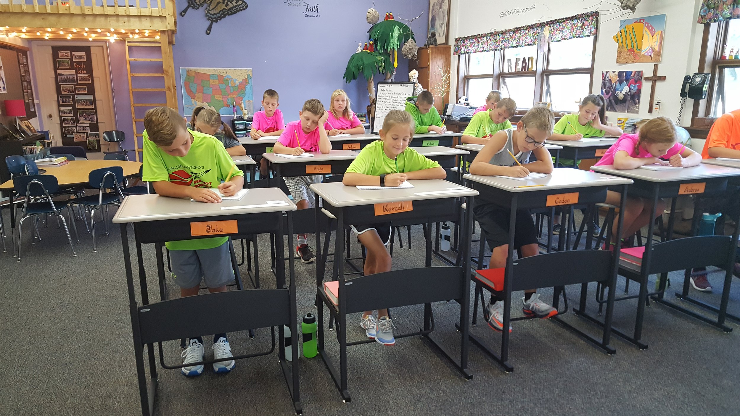 Great examples of an HCF grant in action! Pam Bartee's 5th and 6th grade students at Lebanon Lutheran School love to use their standing desks while learning in class!