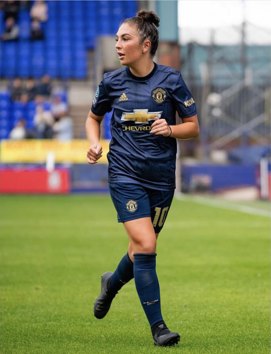 KATIE ZELEM - Manchester United FCIn July 2018, Zelem joined Manchester United for their inaugural season in the FA Women's Championship for the 2018-19 season, one of seven players to return to the senior side having played for the club at youth level. On 9 September, she scored her first goal for United from the penalty spot in the opening game of the 2018–19 FA Women's Championship season, a 12–0 win away to Aston Villa.EnglandZelem made her youth debut for England as she played in a dual-game versus Netherlands in March 2010, scoring her debut goal in the same game.She represented England at the 2014 FIFA U-20 Women's World Cup in Canada. Coached by Mo Marley, Zelem was used as the playmaker of England's midfield. After drawing with South Korea and Mexico, England failed to progress to the knock-out stage after being defeated by eventual finalists Nigeria 2–1 in the final group game.