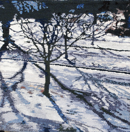 """JANUARY  This is the view of the street below my sitting room window: shadows in the January snow. The tapestry is 18""""x18"""" and is woven in wool and mounted on a frame."""