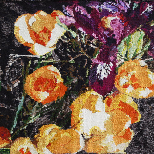 """MARCH  A small iris, and crocus, from above. Spring! This tapestry is woven in wool and mounted on a frame. It is 18""""x18""""."""