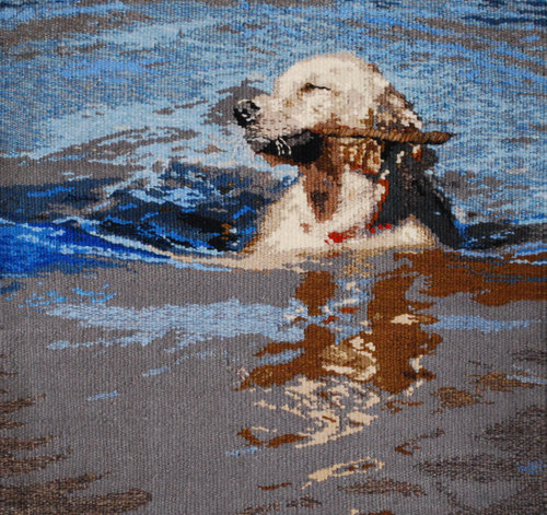 """AUGUST  August is known as the 'Dog Days of Summer.' This is our dog, Booker, retrieving sticks in the lake. The tapestry is woven in wool, is 18""""x18"""" and mounted on a stretcher frame."""