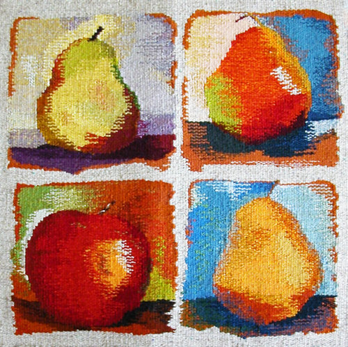 """SEPTEMBER  We live in a fertile mountain valley, known for the fruit orchards. September is the time to harvest apples and pears. This tapestry is 18""""x18"""" and woven in wool. It is mounted on a covered frame."""