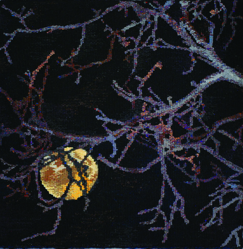"""NOVEMBER  The November nights are brisk, and the harvest moon shines brightly through the bare branches. This tapestry is 18""""x18"""" and is woven in wool. It is mounted on a covered stretcher frame."""
