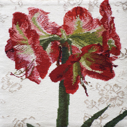 """DECEMBER  I plant an Amaryllis bulb (or two) every year, and let its bright colors cheer me through the dark December days. It truly is one of the things I love most about this month, as it feels like a gift to me. This tapestry is 18""""x18"""" and woven in wool. It is mounted on a covered stretcher frame."""