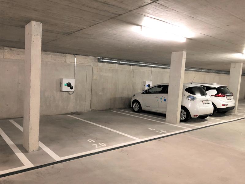 Laden in einer Tiefgarage - 4 wallbe Ladestationen mit Invisia Lademanagement.Inbetriebnahme: Februar 2019