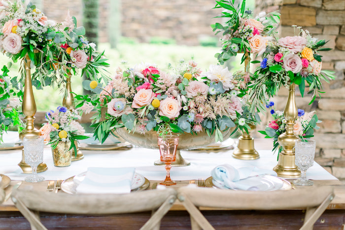 Decor by  So Staged    Florals by  Flowers by Fudgie    Linens by  BBJ Linen    Glassware by  The Copper Acorn