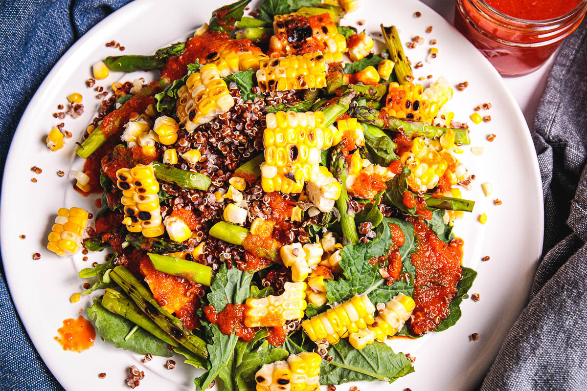 1 Grilled Corn, Asparagus, Red Quinoa Salad with Charred Bell Pepper Dressing - Plant-Based, Oil-Free, Gluten-Free Vegan Recipe Plants-Rule  (8).jpg
