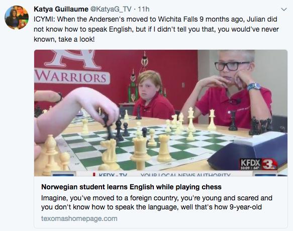 Tweet from Katya Guillaume