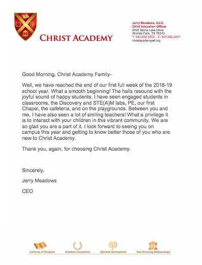 Dr. Meadows Christ Academy Welcome Letter