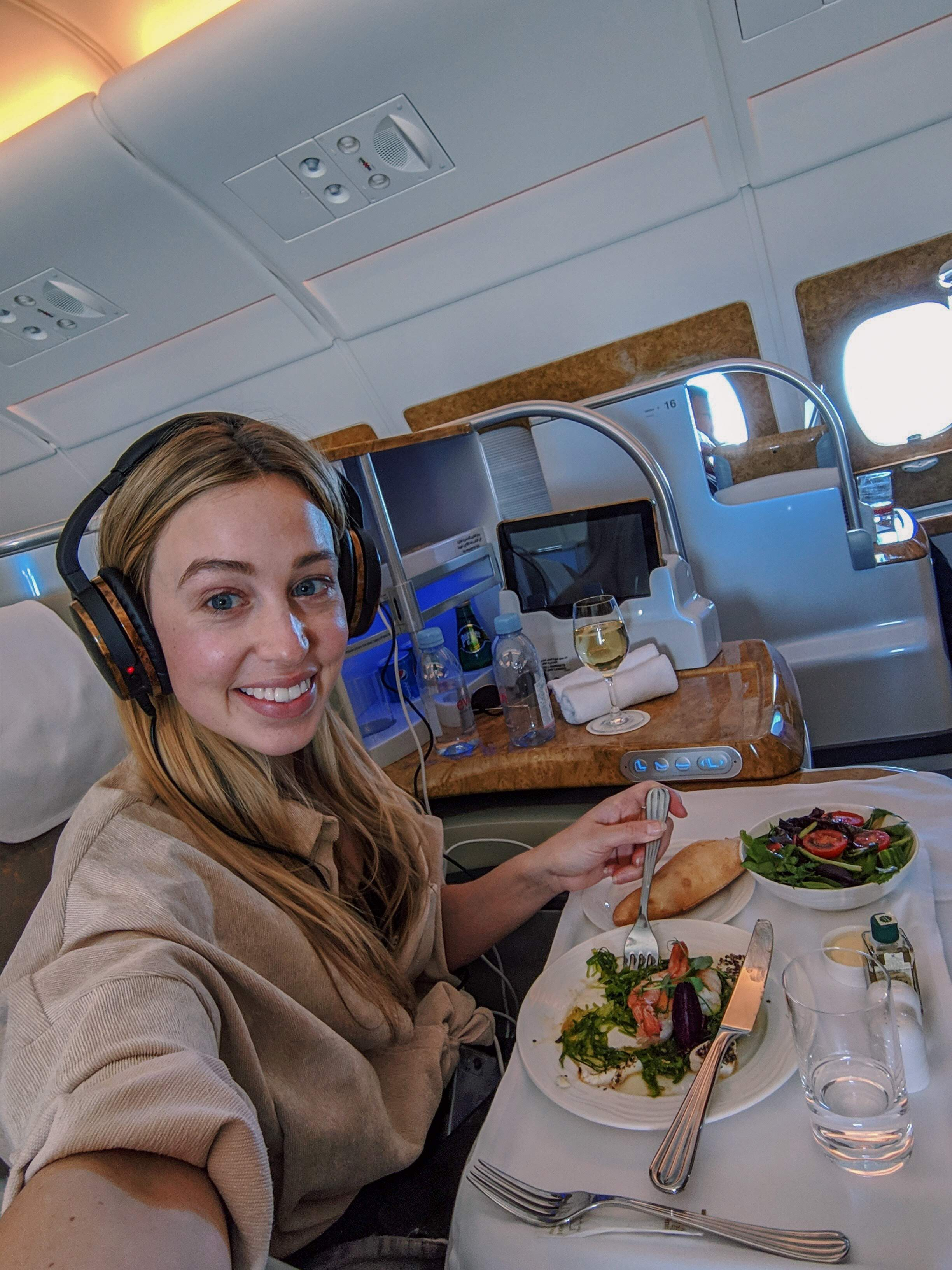 Dining in Emirates Business class