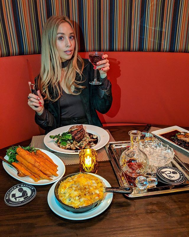 Feast for a queen 👑🍴🥩 foie gras & mushroom filet, cheesy grits, duck breast and a giant plate of carrots... oh, and of course with whiskey served on a silver platter. 🥃 @butcherandbankernyc #withskyler