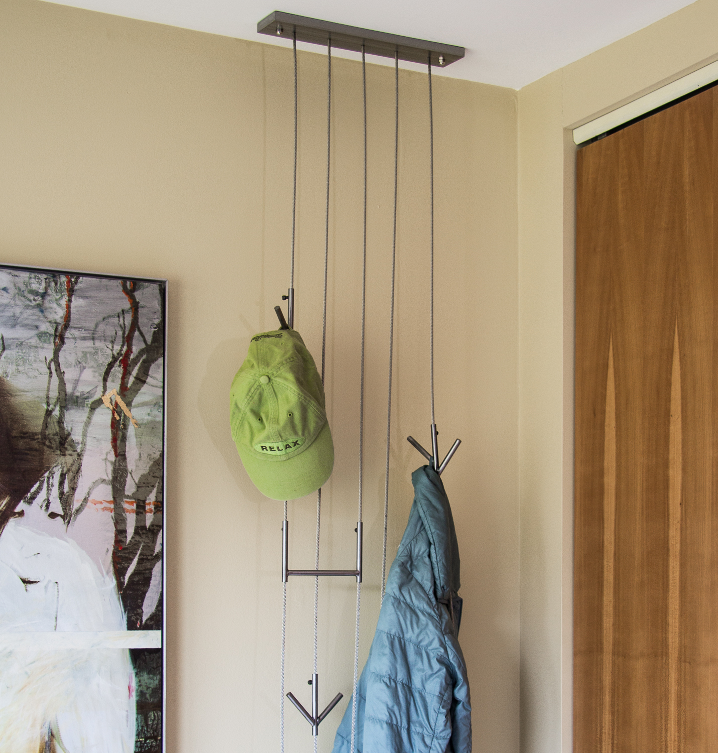 The  Waterfall  Hooked system has cool adjustable hooks. Add as many as you like!