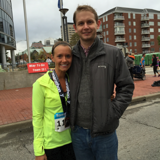 My favorite race (Evansville Half Marathon) and current half marathon PR. My boyfriend is my biggest supporter and comes to watch me run even in the rain.