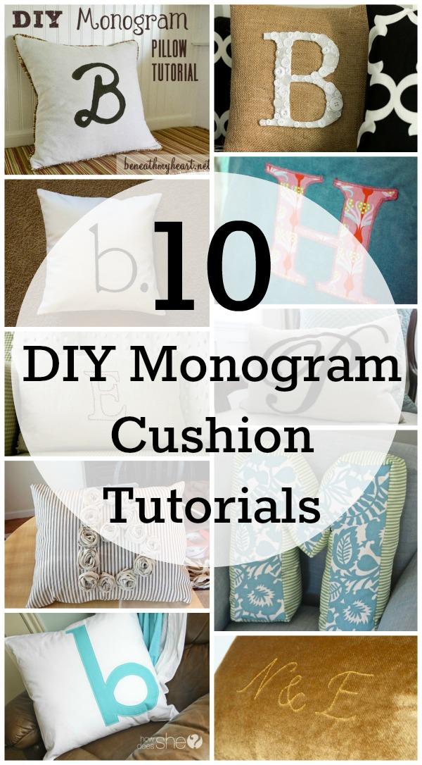 10 DIY monogram cushion ideas