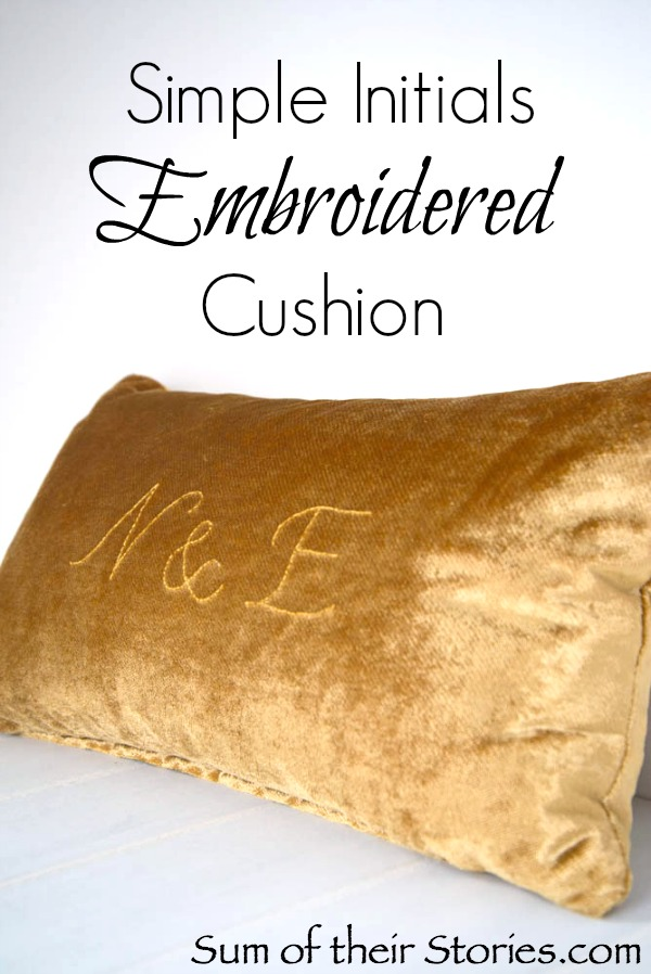 Simple Initials embroidered cushion