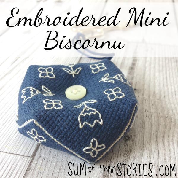 Embroidered mini biscornu
