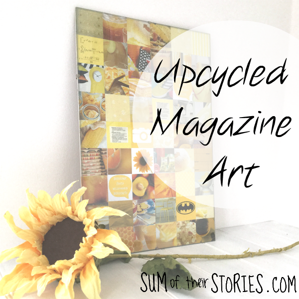 Upcycled magazine and junk mail collage art