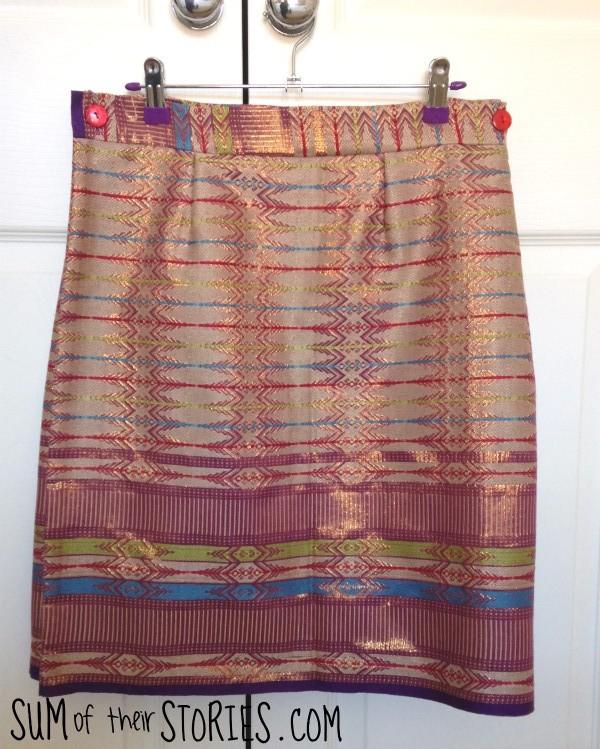 Front of sarong wrap skirt