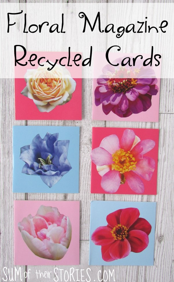 Floral magazine recycled cards