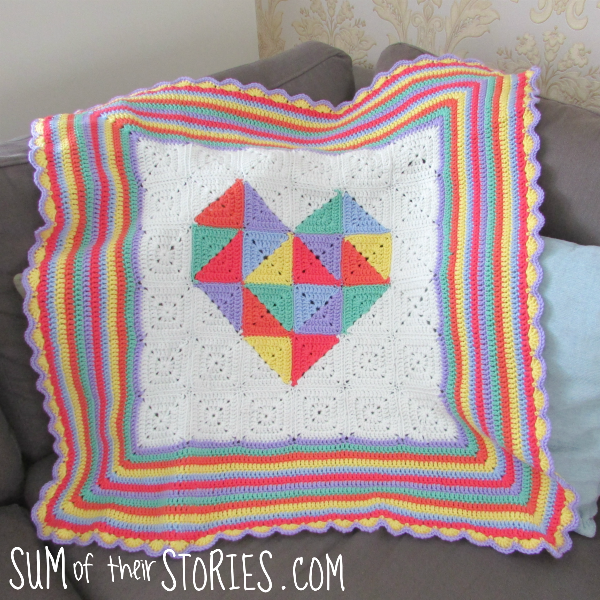 Geometric heart crocheted baby blanket