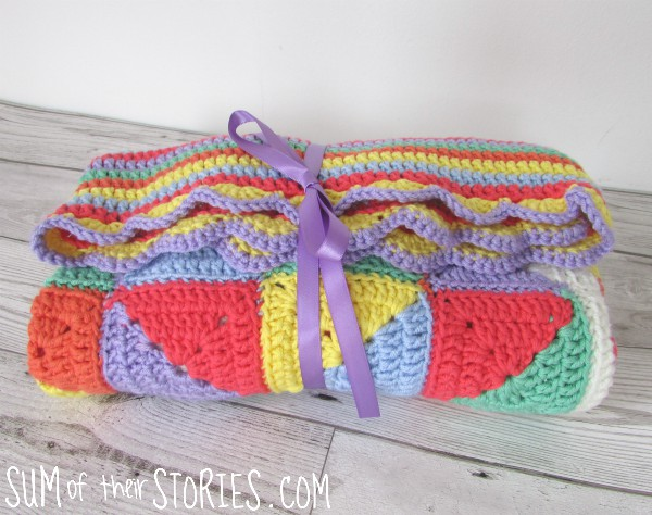Crocheted heart baby blanket