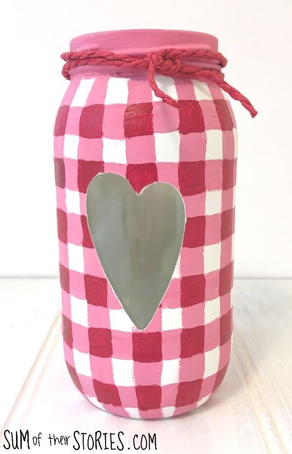 Pink gingham glass jar upcycle