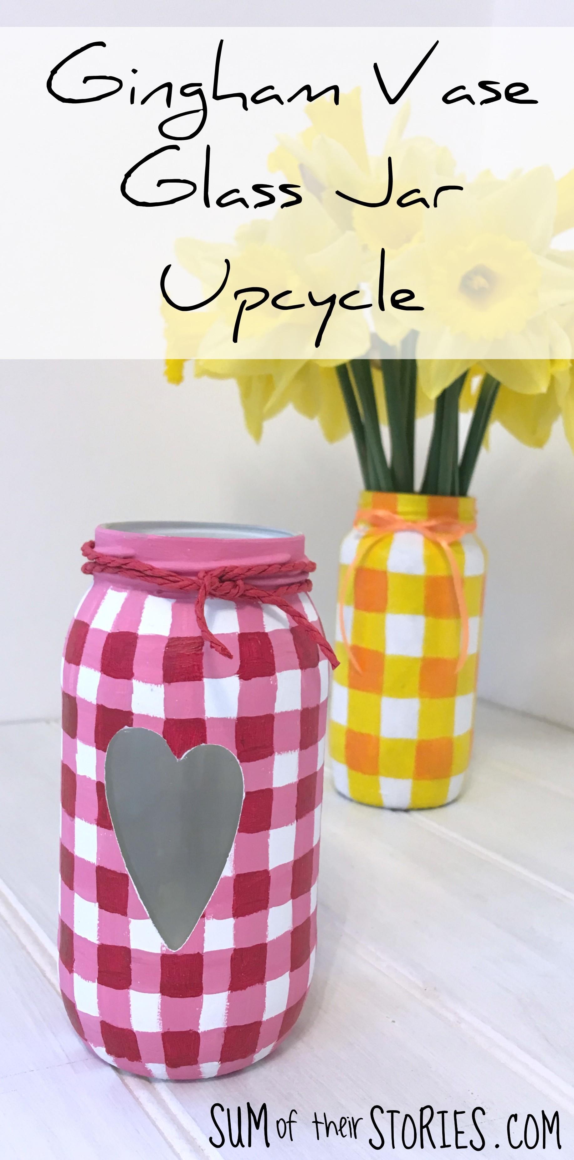Gingham Vase glass jar upcyle