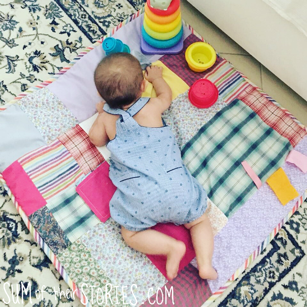 Baby play mat in use