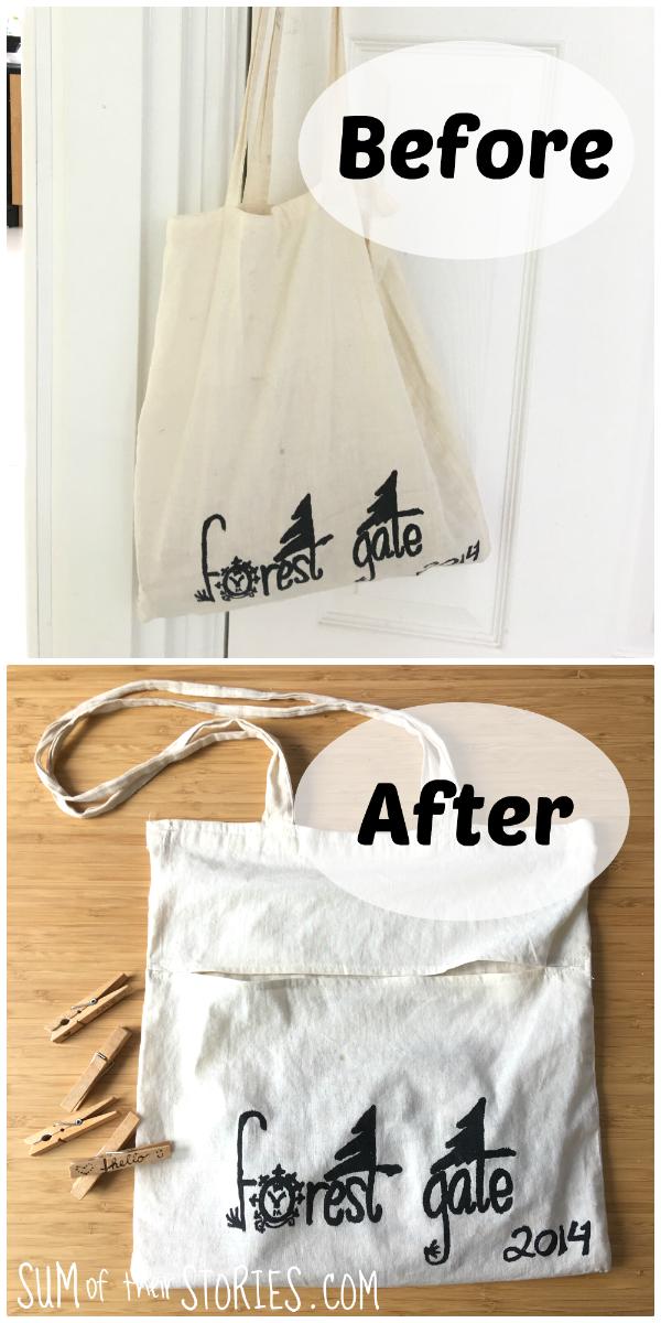 Make a peg bag from an old shopper