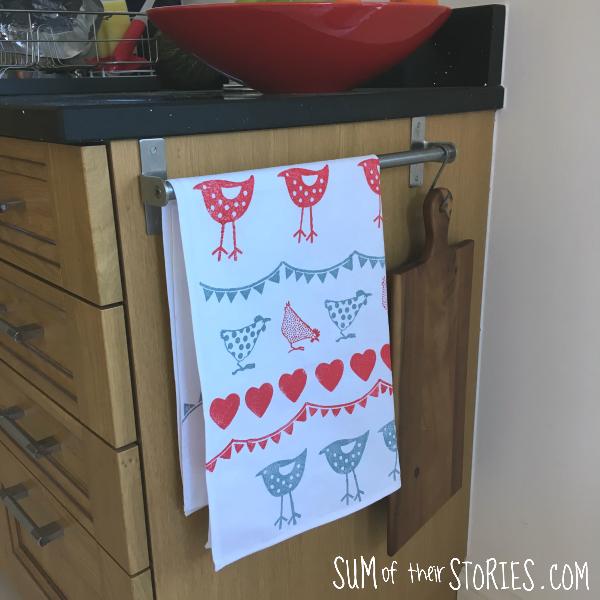 hand stamped tea towel
