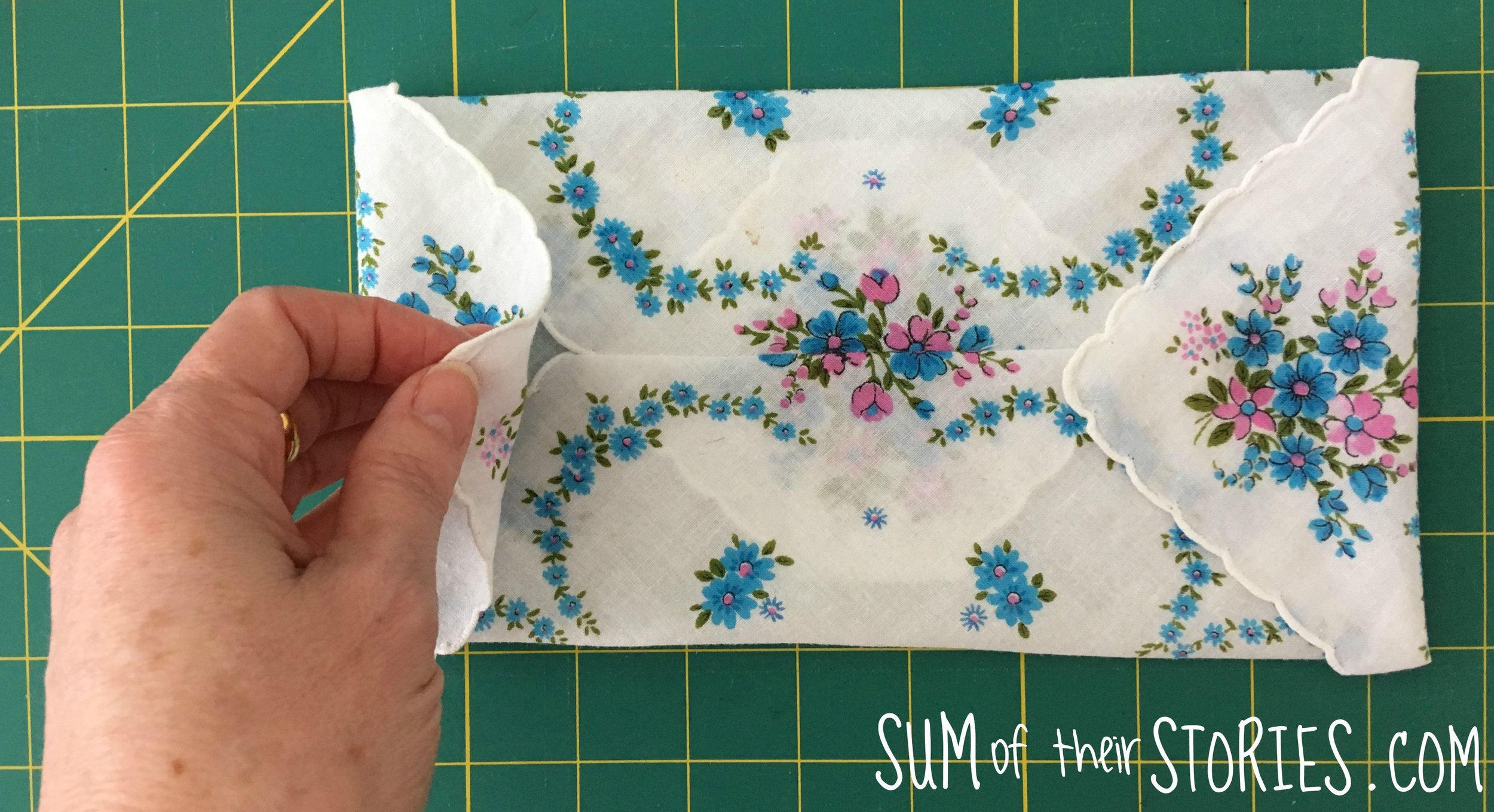 Vintage handkerchief jewellery pouch