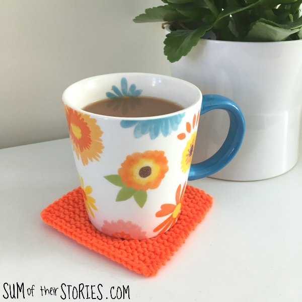 simple knitted coaster