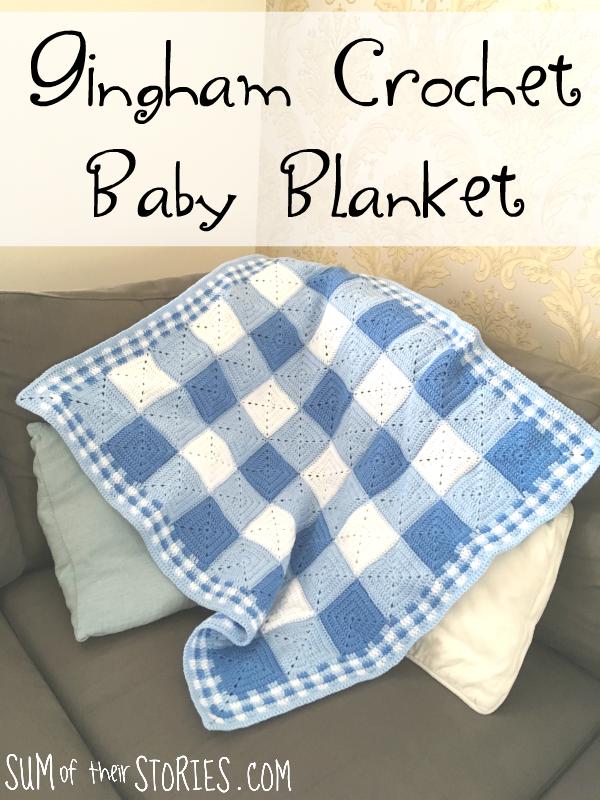 Gingham crochet baby blanket pattern