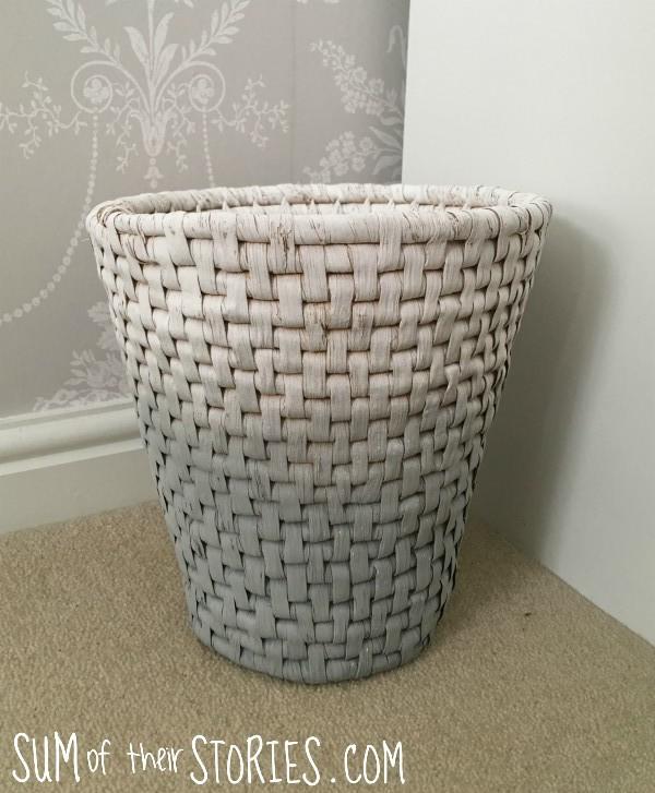 Ombre paint effect waste basket