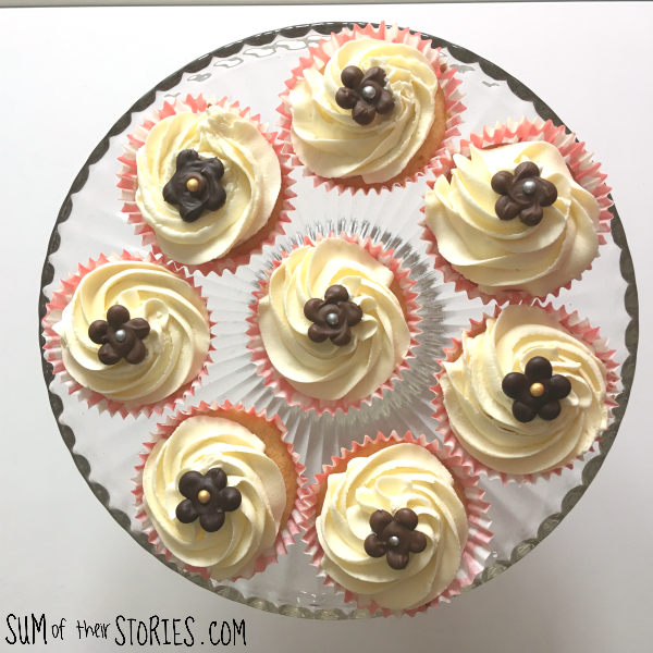 cupcakes with chocolate flower decorations