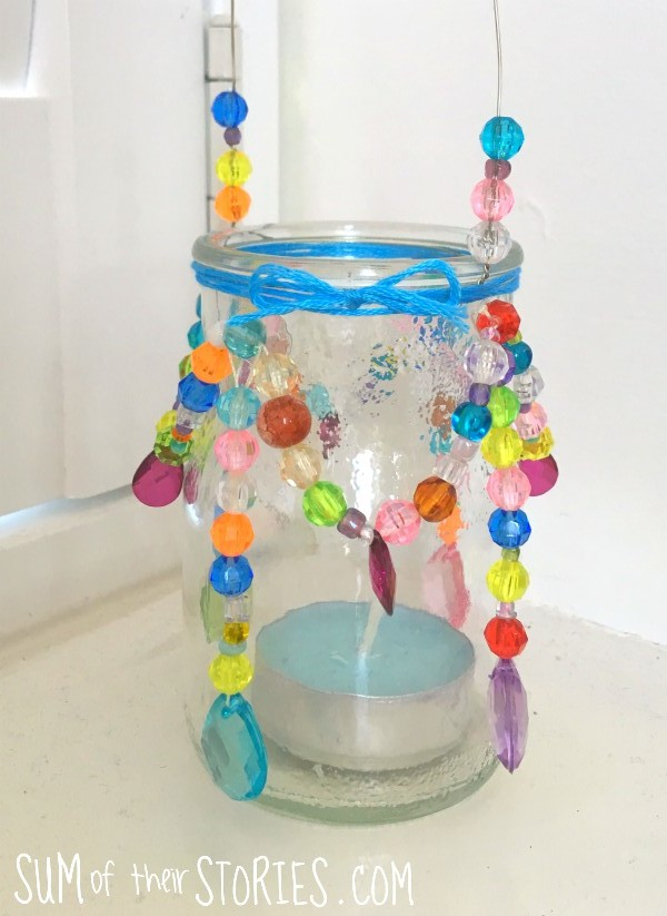 upcycled beaded jar lantern