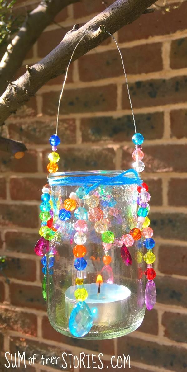 beaded chandelier tea light holder