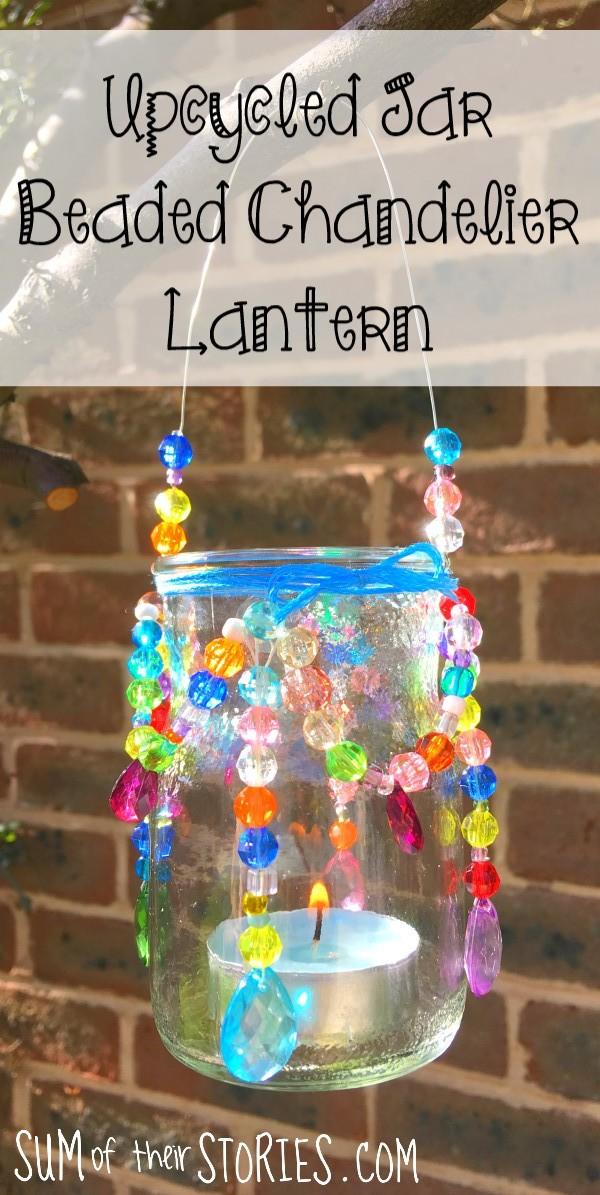 upcycled jar beaded chandelier lantern