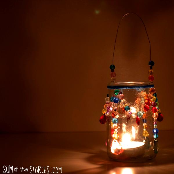 beaded tea light chandelier boho