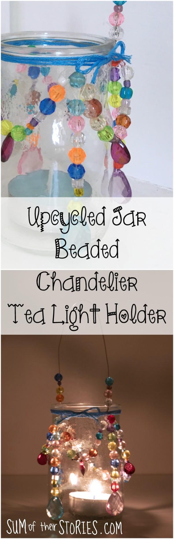 upcycled jar beaded chandelier tea light holder